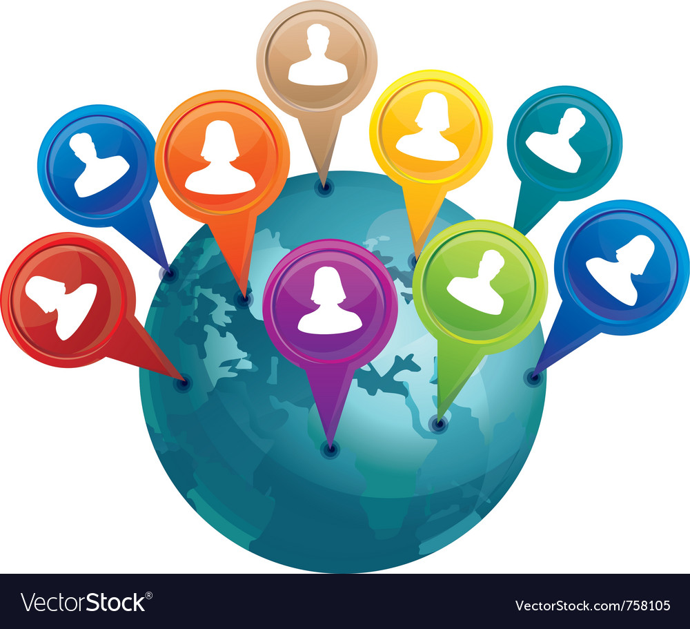 Globe with markers with friends  social media con vector