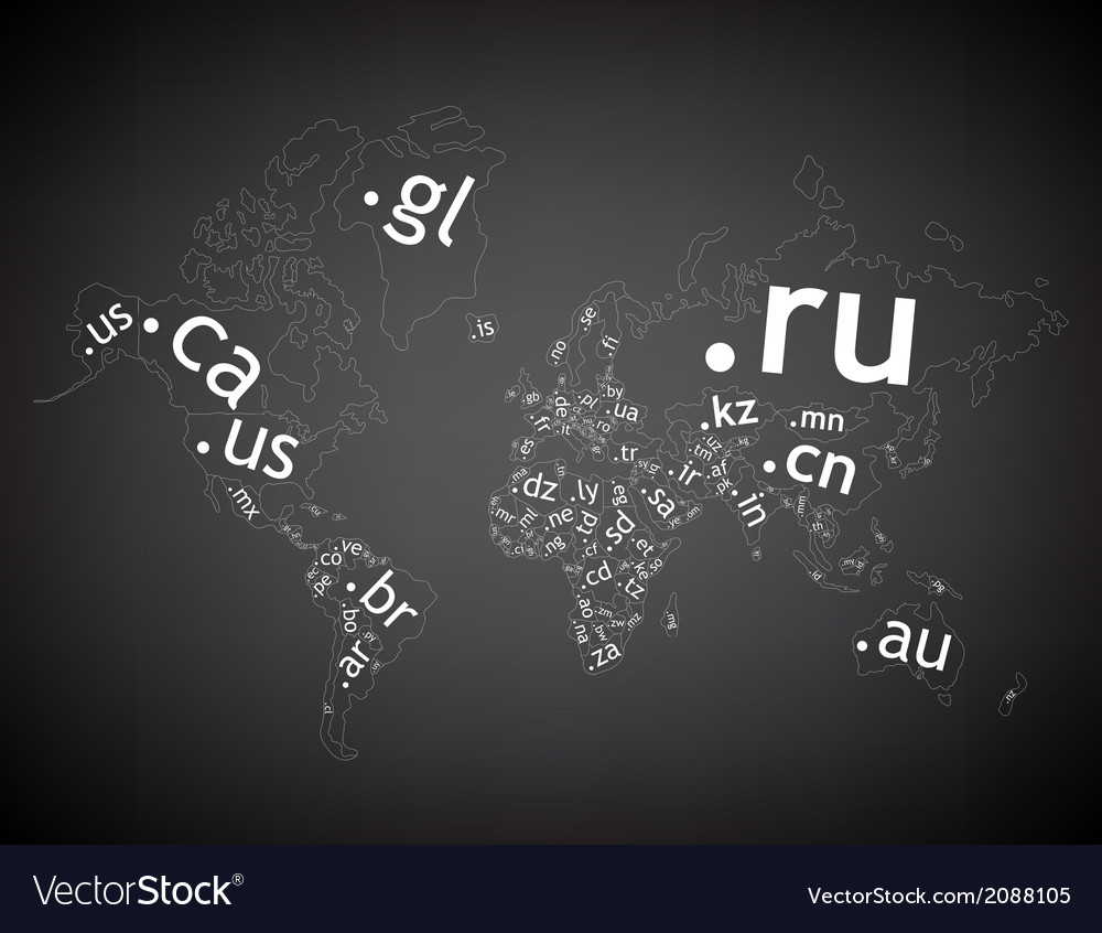 Map of the world toplevel domain vector
