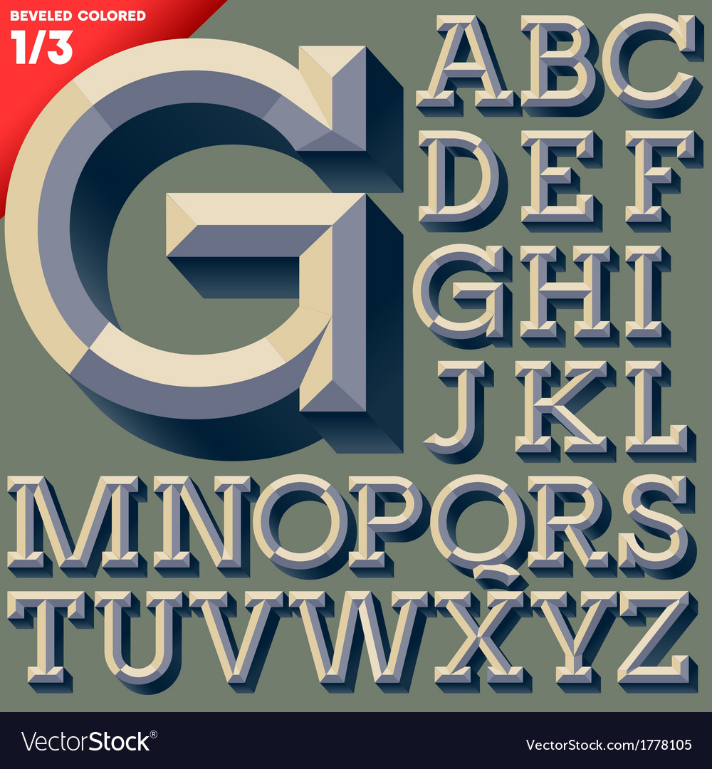 Old school beveled alphabet vector