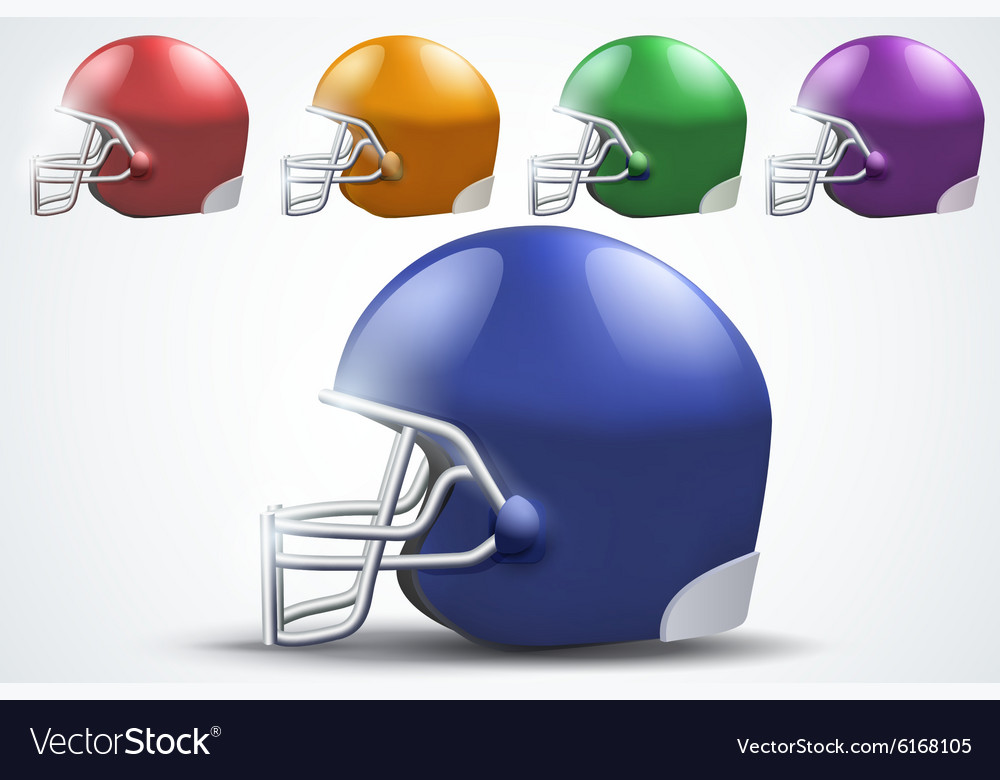 Set of american football helmet side view vector