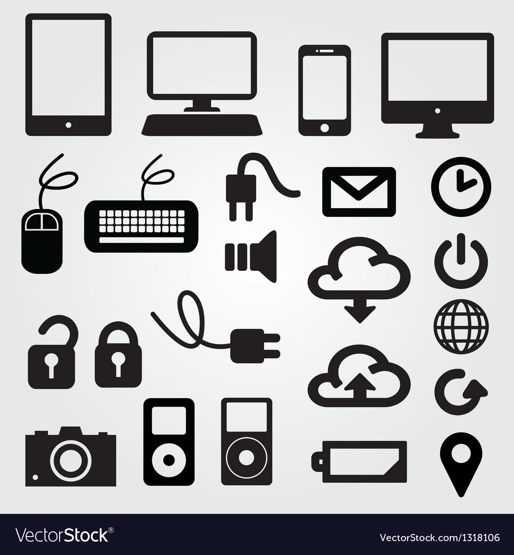 Cloud app icon on mobile phone icons set vector