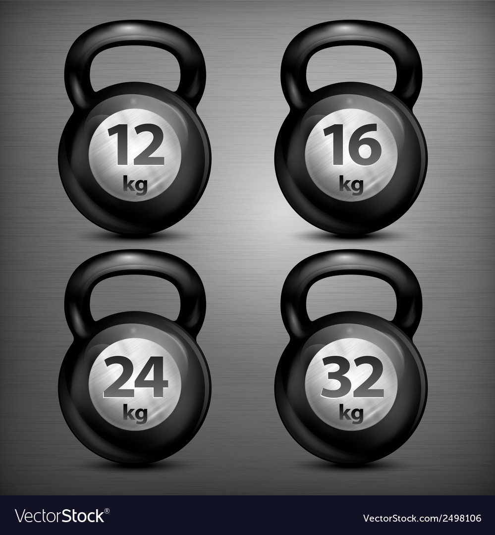 Four metallic kettle bells vector