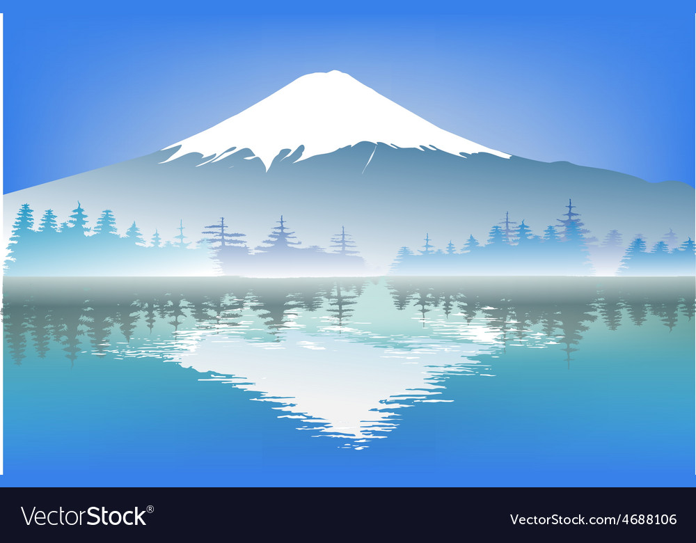 Fujisang mountain with reflection water vector