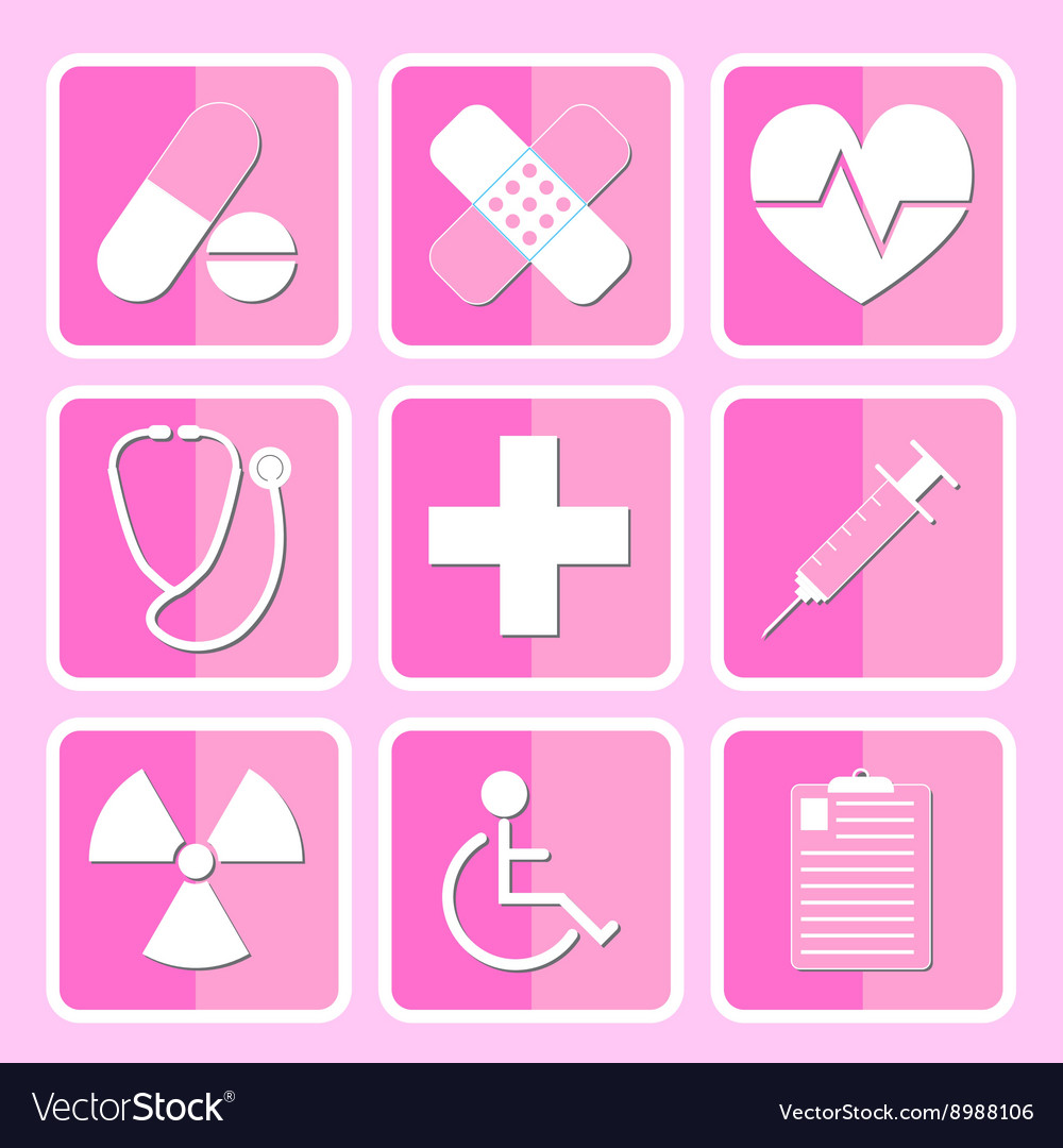 Medical icon set pink vector