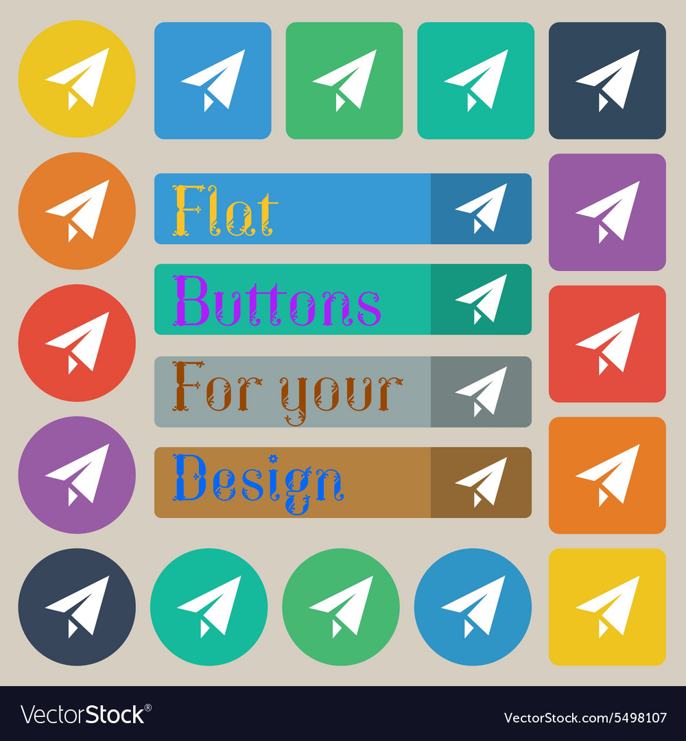 Paper airplane icon sign set of twenty colored vector