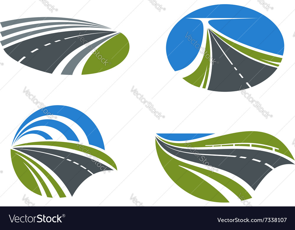 Roads and highways icons with nature landscapes vector
