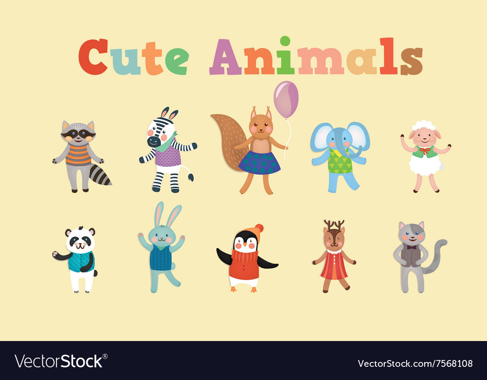 Set of cute animals for childrens party vector