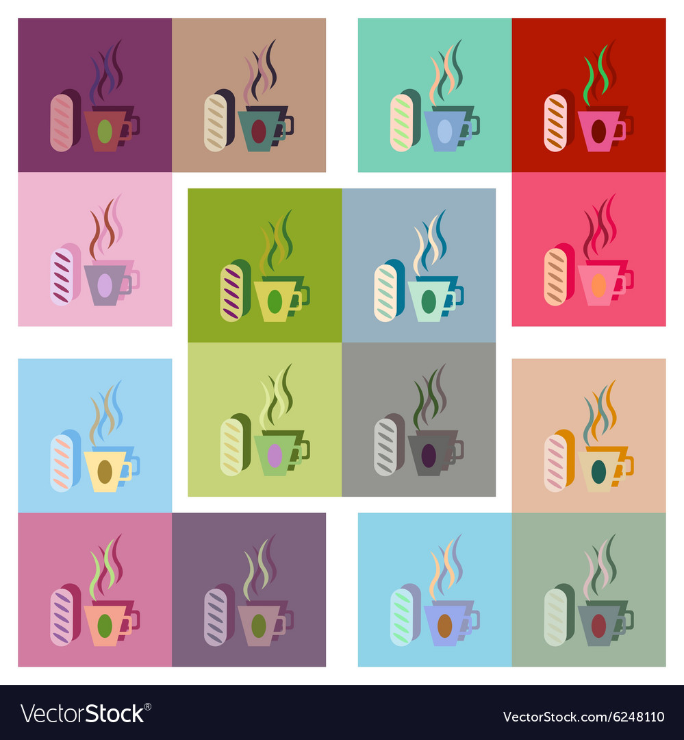 Modern flat icons collection cup coffee bun vector
