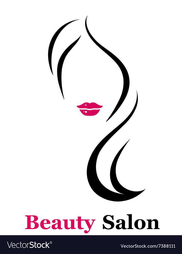 Beauty salon icon with woman silhouette vector