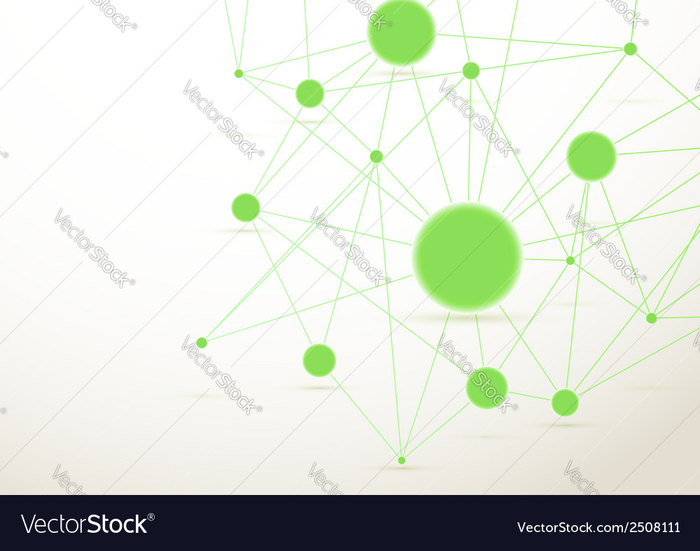 Bright green connected dots background vector