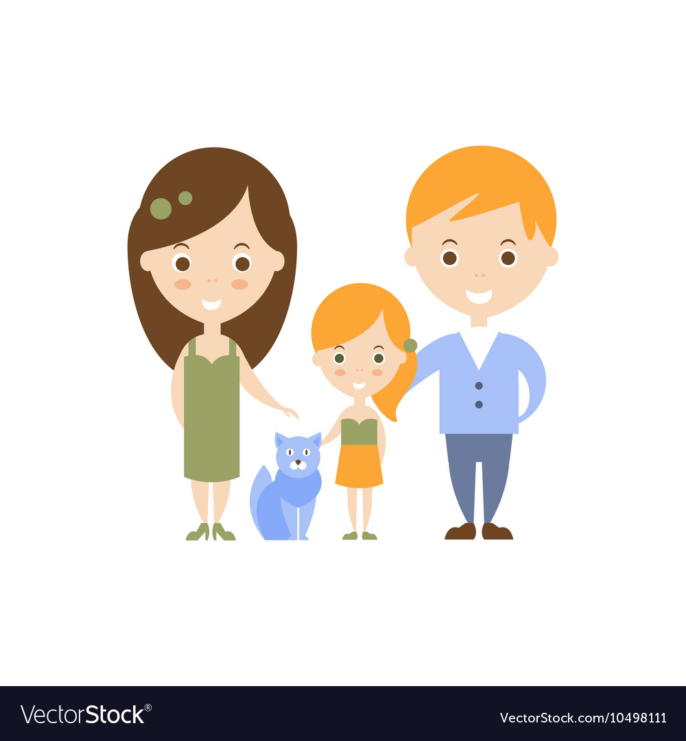 Family as personal happiness idea vector
