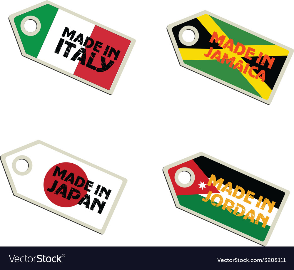 Label made in italy jamaica japan jordan vector