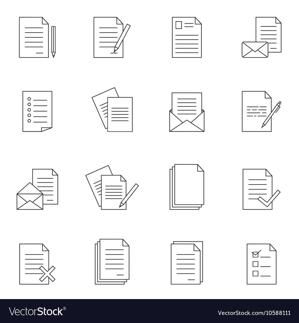 Outline document icon set vector