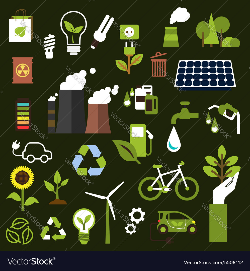 Environment and recycling flat icons vector
