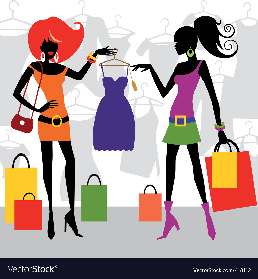 Fashion shopping women vector
