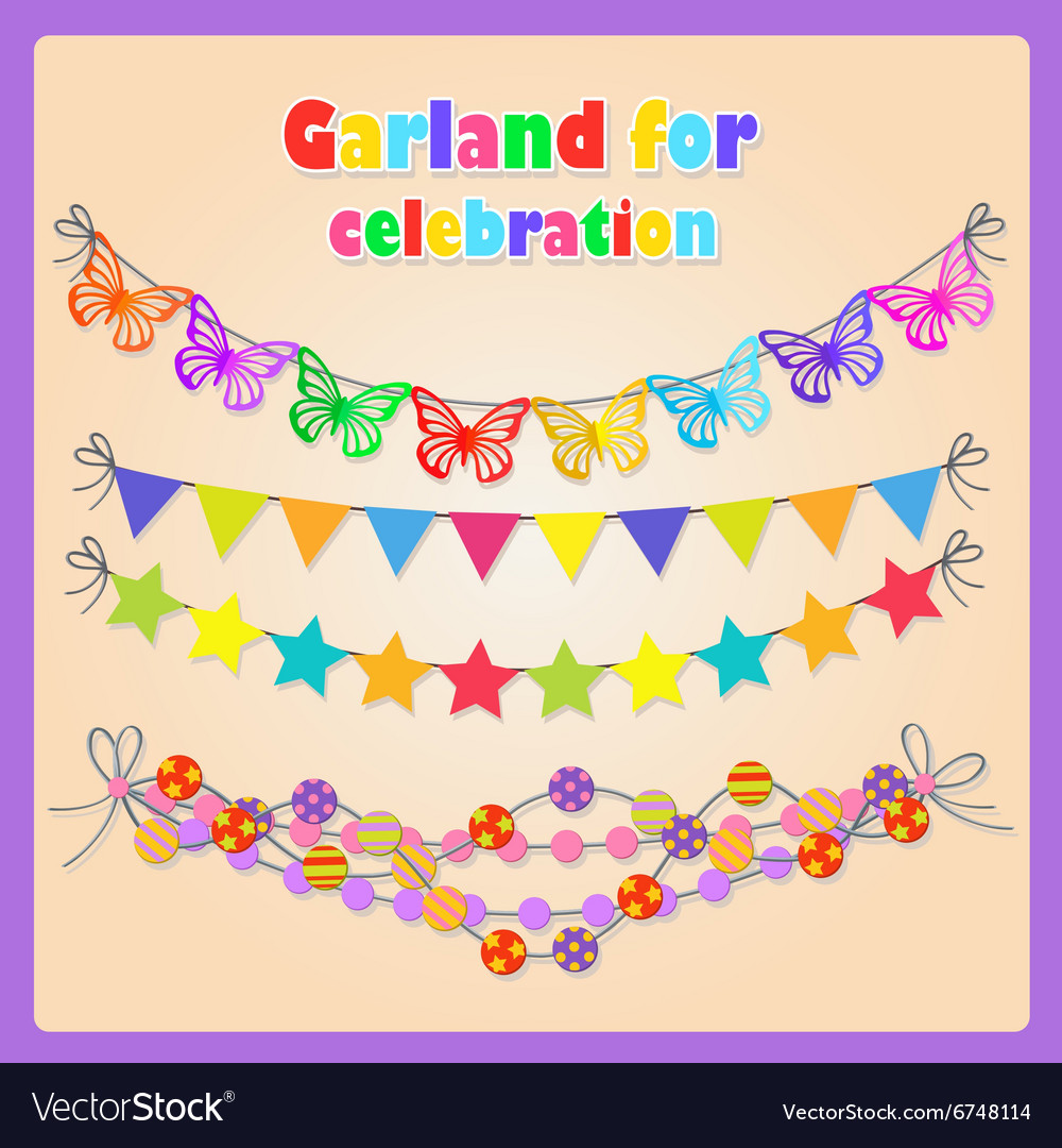 Set of four festive garlands for all occasions vector