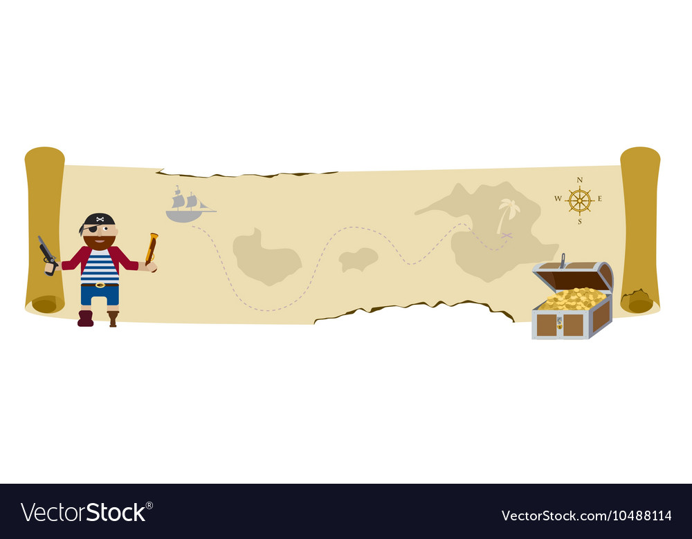 Treasure pirate map flat background vector