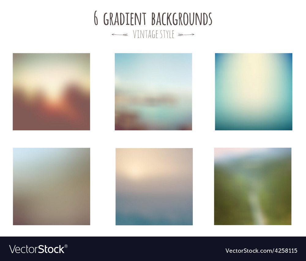 Collection of 6 vintage gradient backgrounds vector