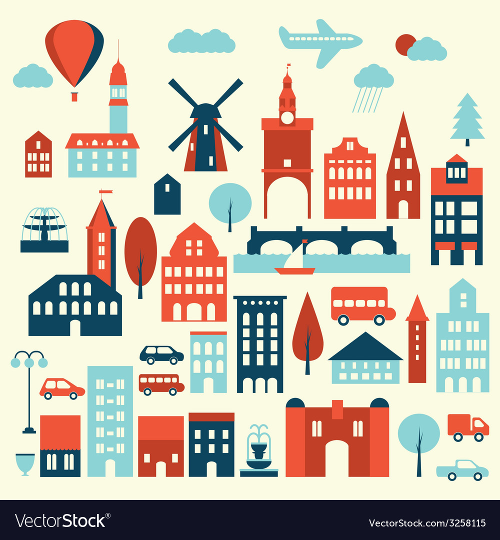 Europe city icon vector