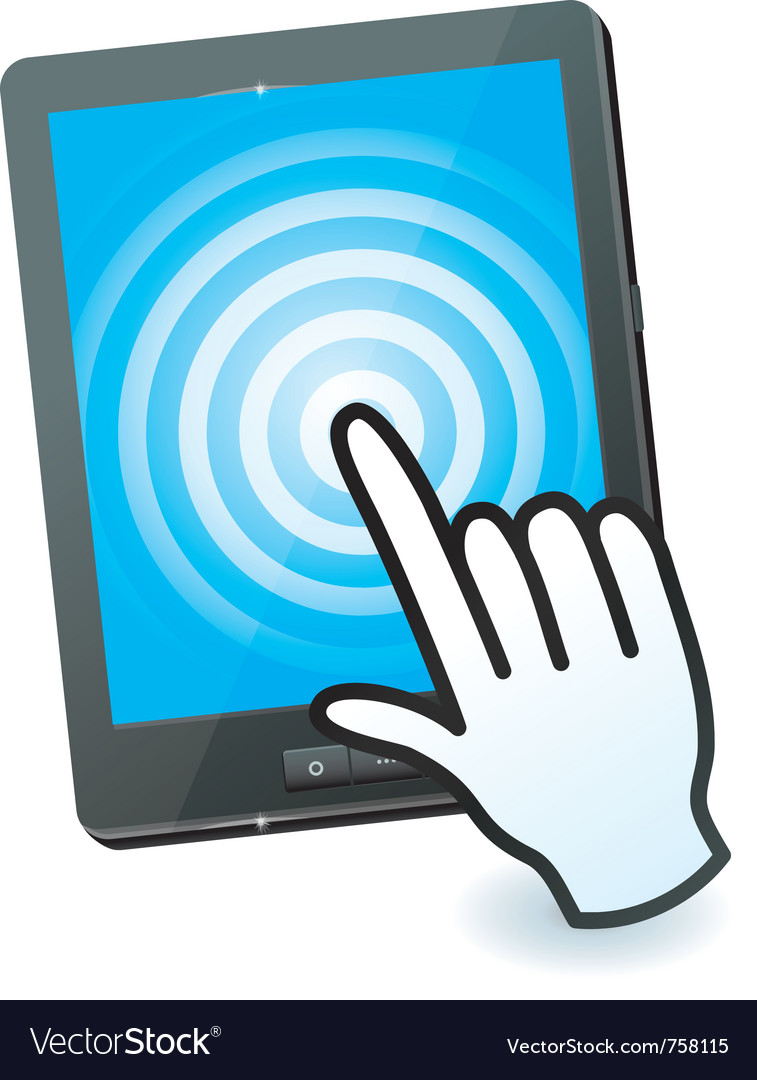 Hand cursor and tablet pc with touchscreen  vector