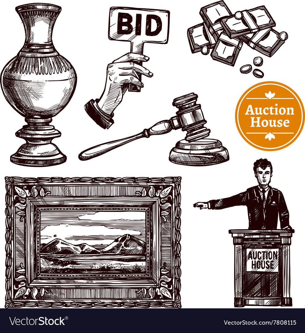 Hand drawn auction set vector