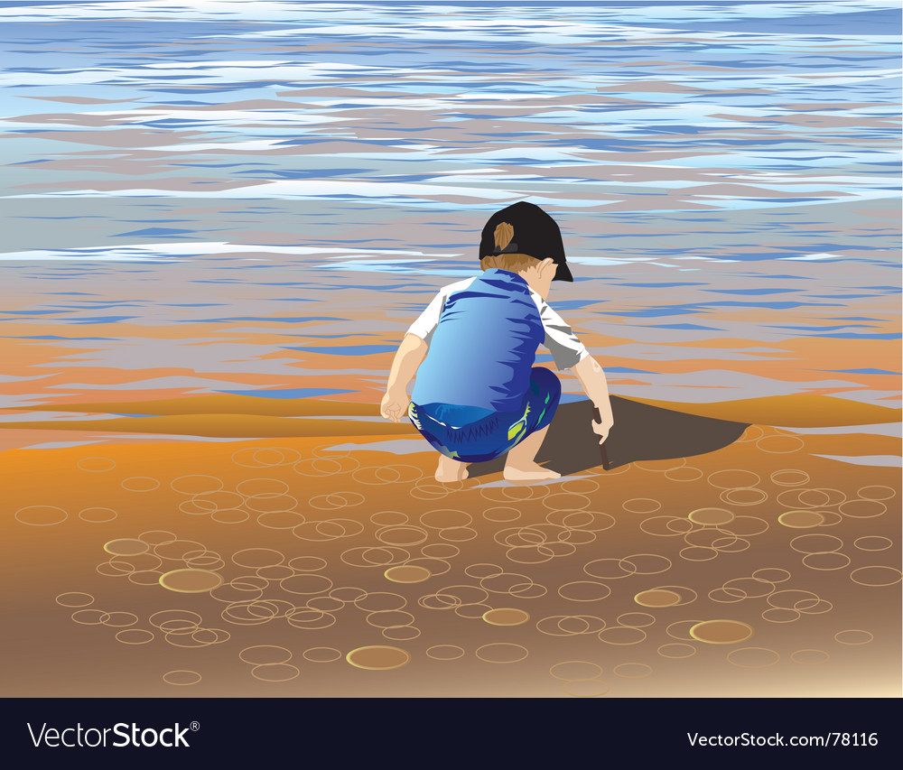 Boy lakeside vector