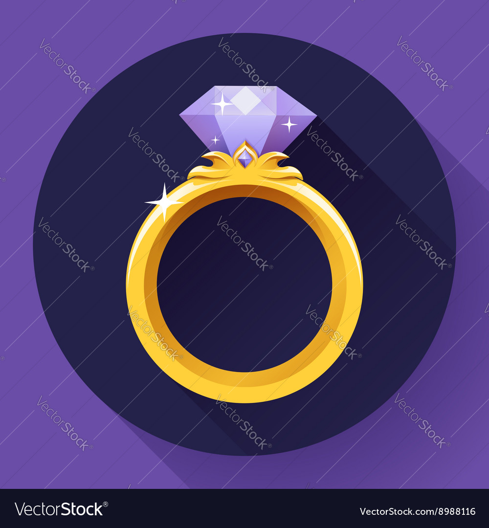 Diamond gold ring icon flat 20 design vector
