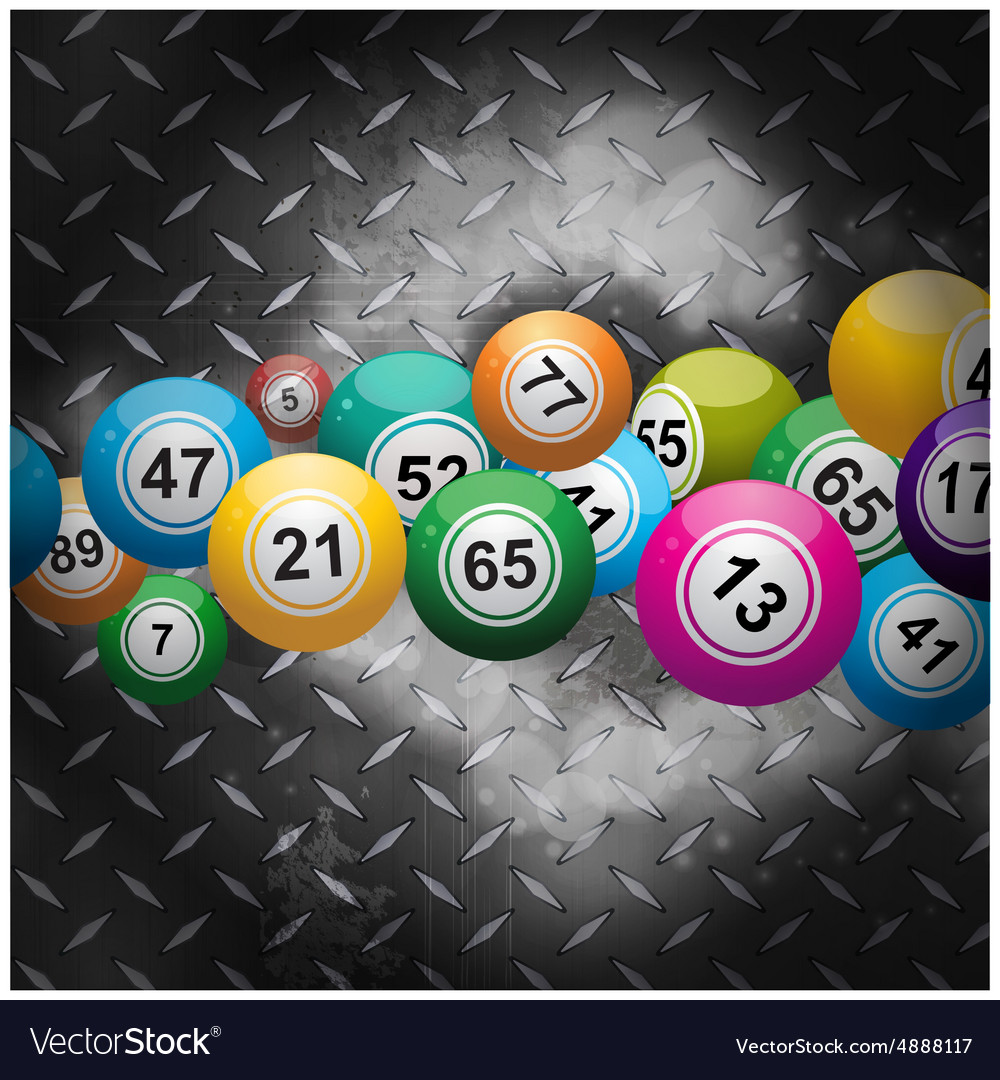 Bingo balls over metallic diamond plate vector