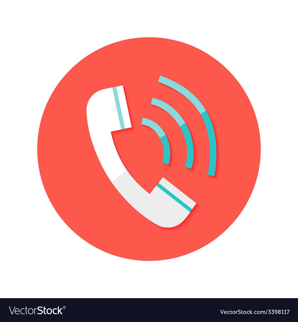 Call headphone circle flat icon vector