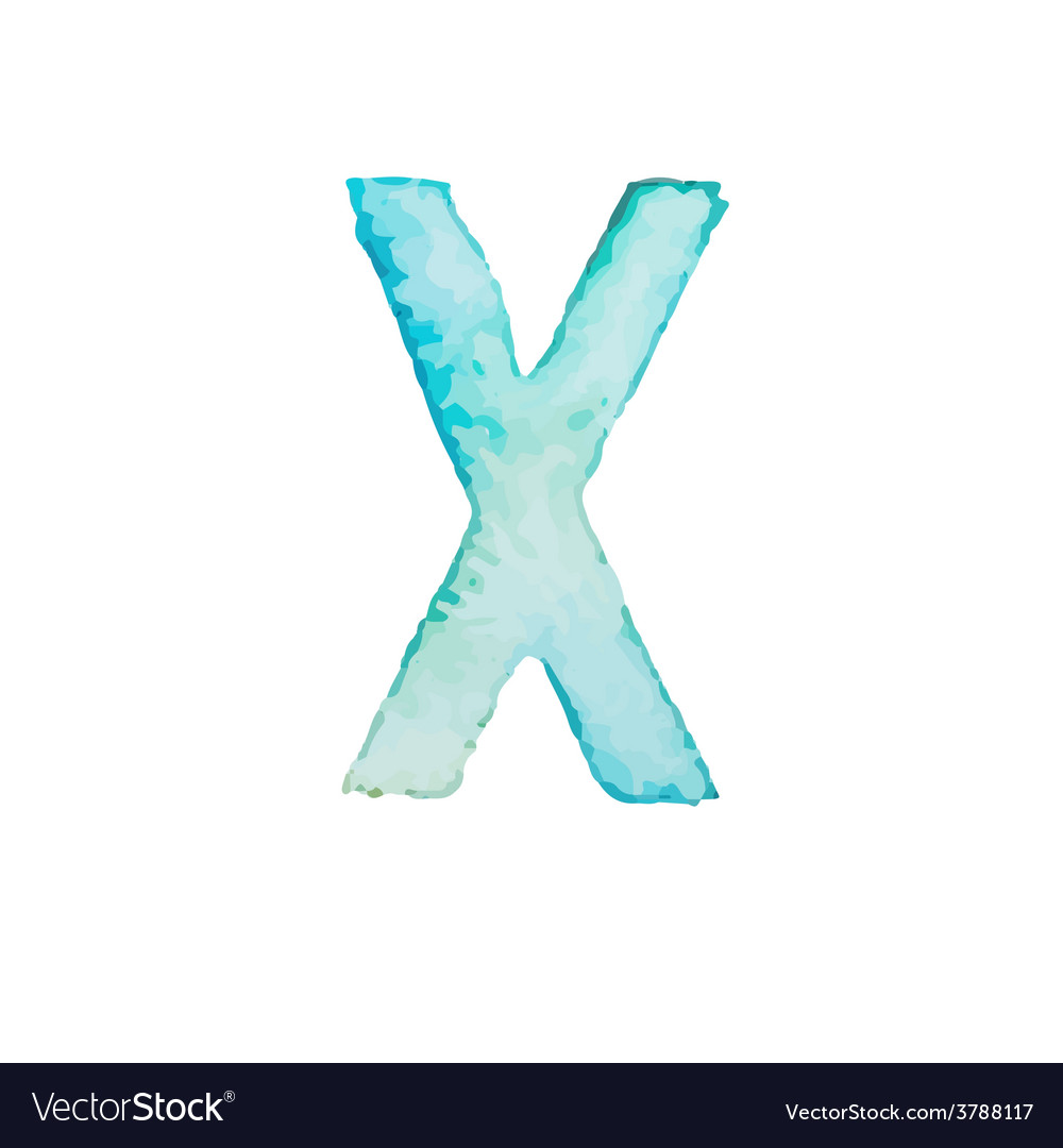 Letter x colorful watercolor aquarelle font type vector