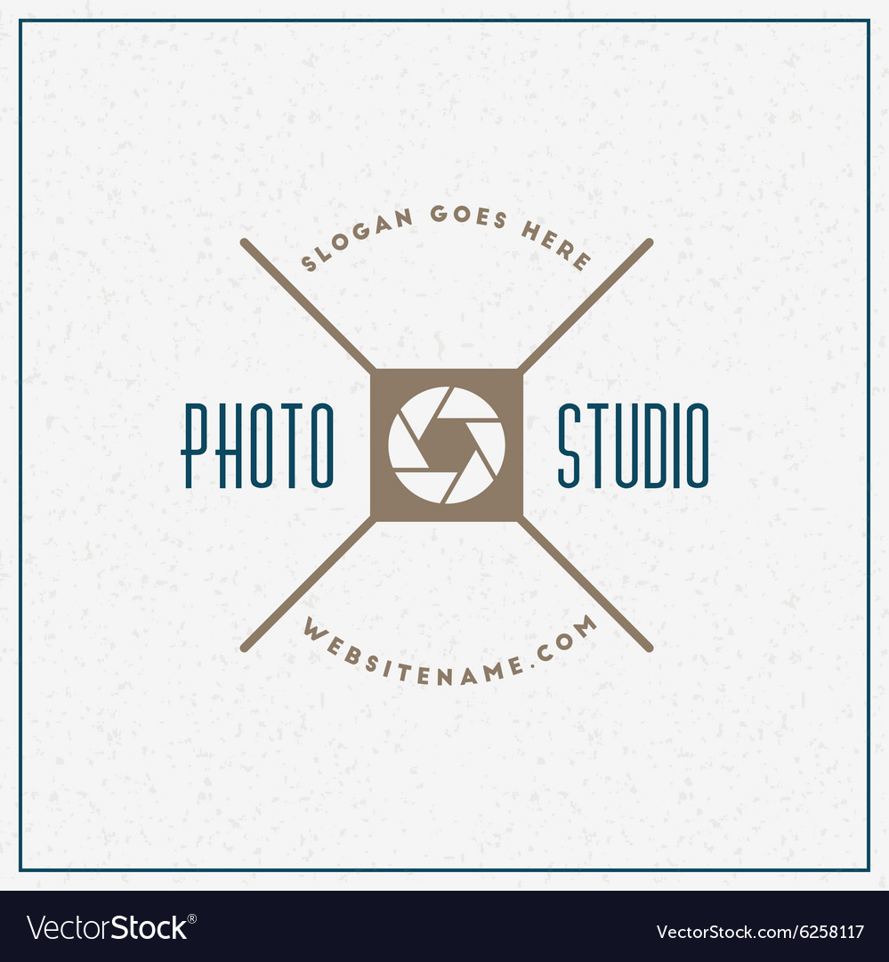 Photography logo design template retro badge photo vector