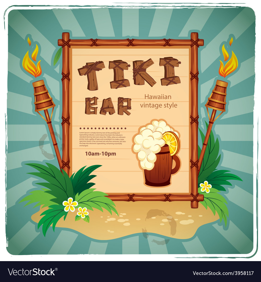 Retro tiki bar sign vector