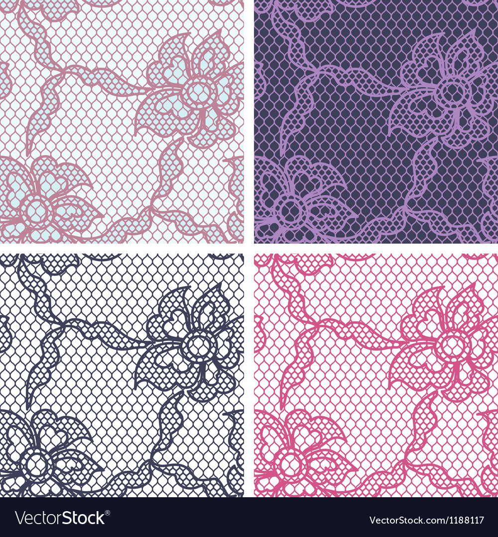 Set of lace seamless patterns with abstact flowers vector