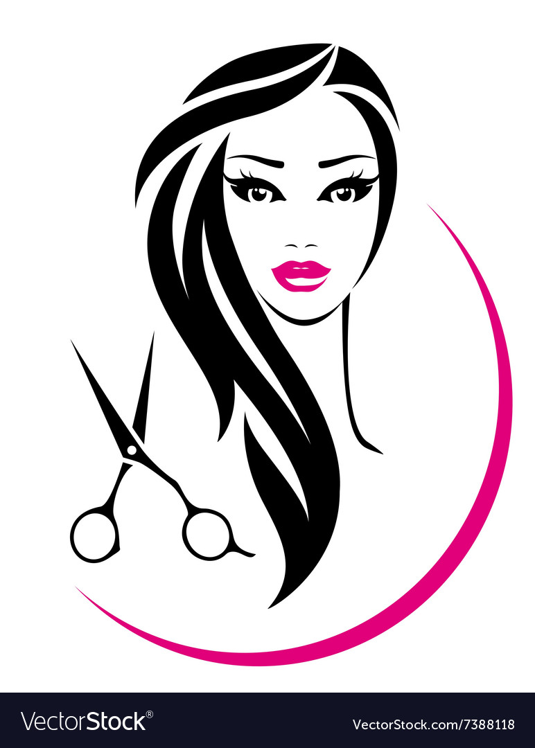 Hair salon sign with pretty woman and scissors vector