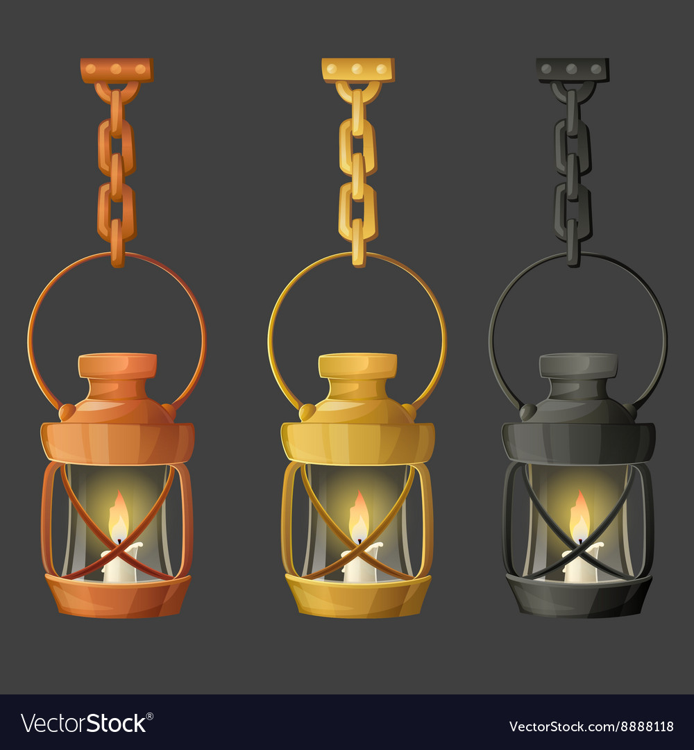 Set of metal lamps or lanterns holding on chain vector