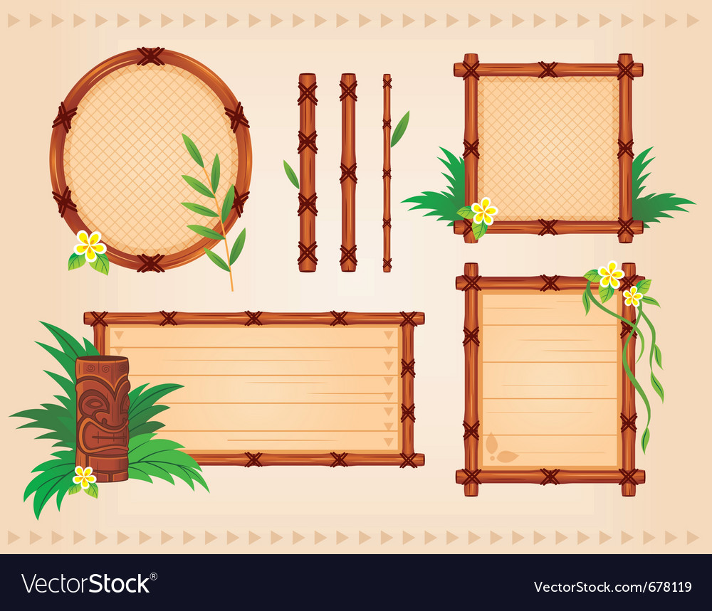 Bamboo frames set vector