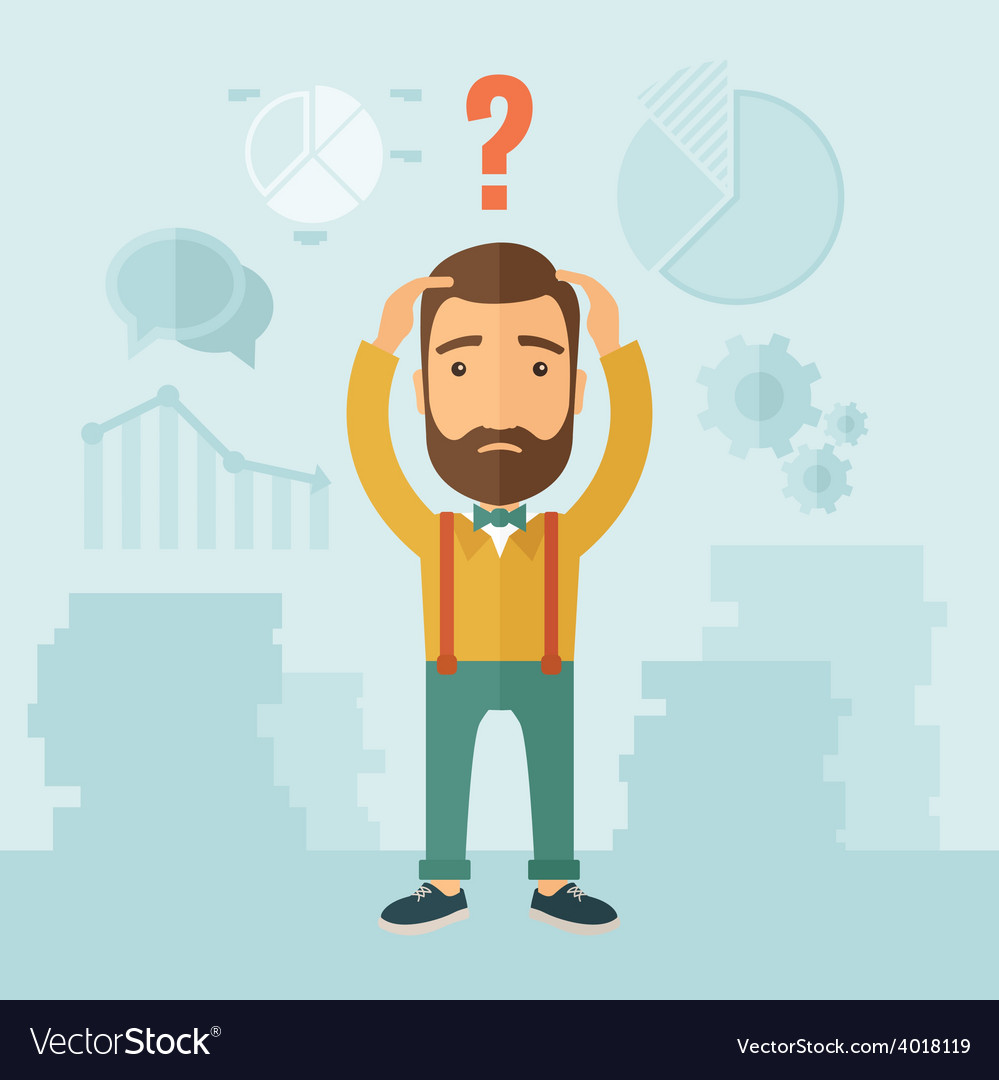 Confused man vector