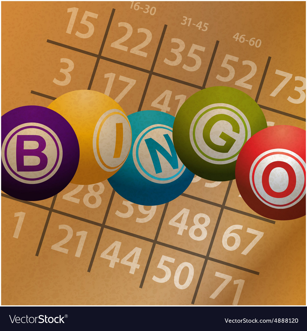 Bingo balls and numbers on brownpaper background vector