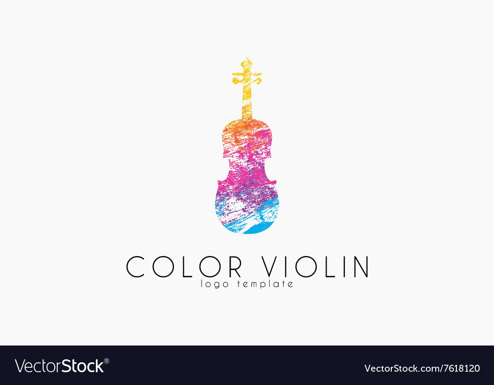 Colorful violin logo music logo violin in grunge vector