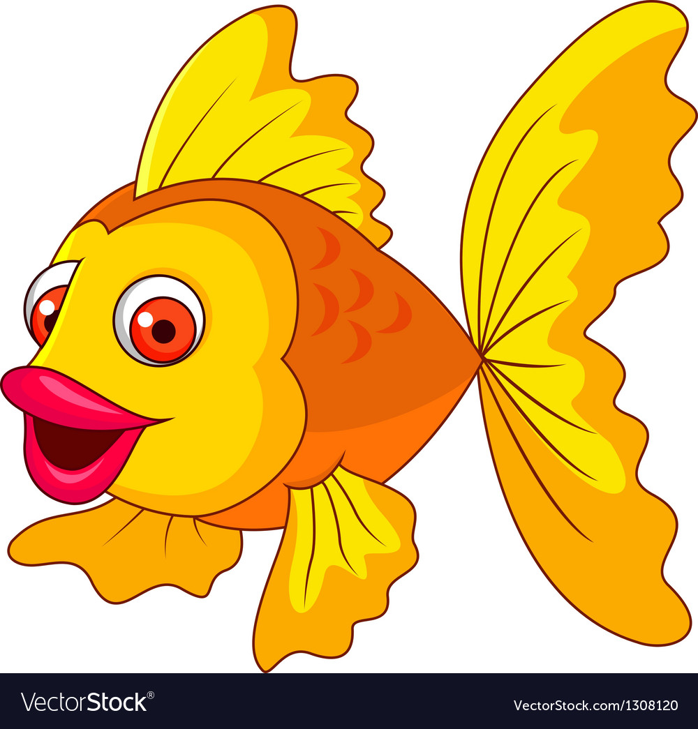 Cute golden fish cartoon vector