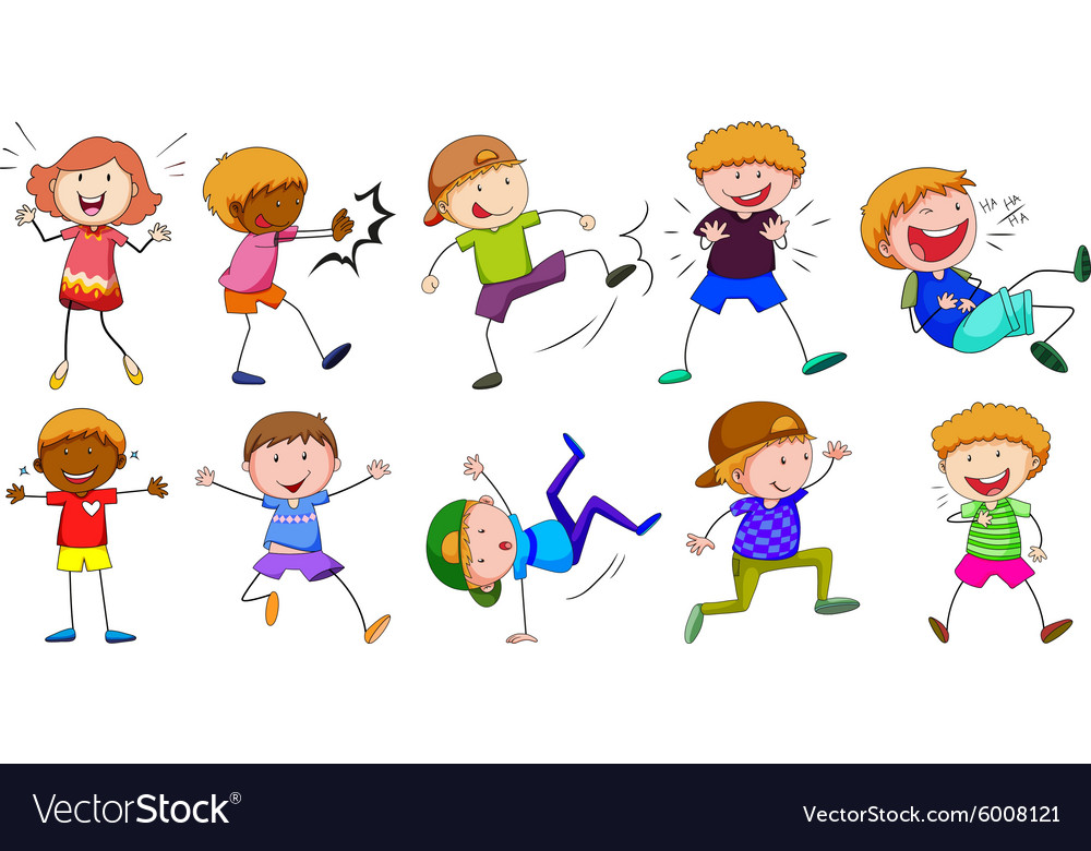 Boy and girl in different poses vector
