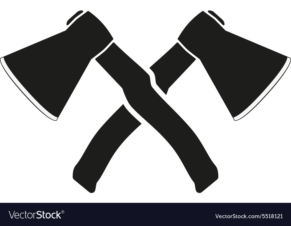 Crossed axes icon axe and hack symbol flat vector