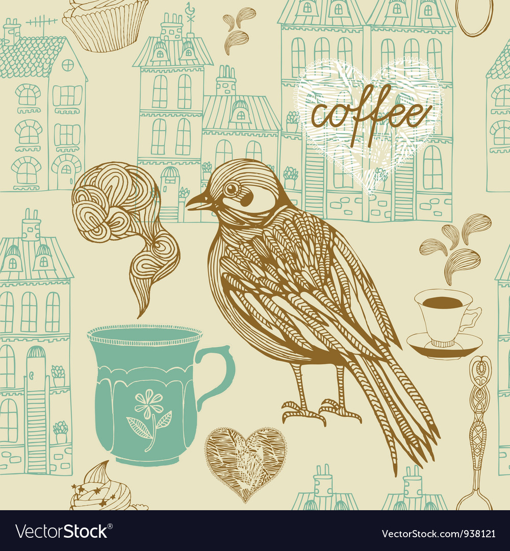 Vintage birds coffee pattern vector