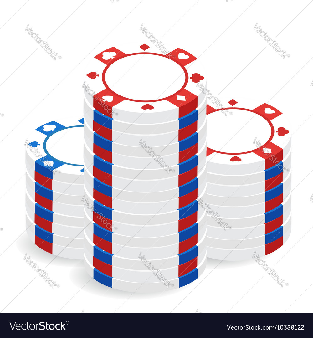 Casino chip pile vector