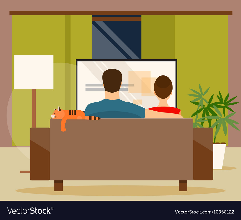 Family watching tv vector