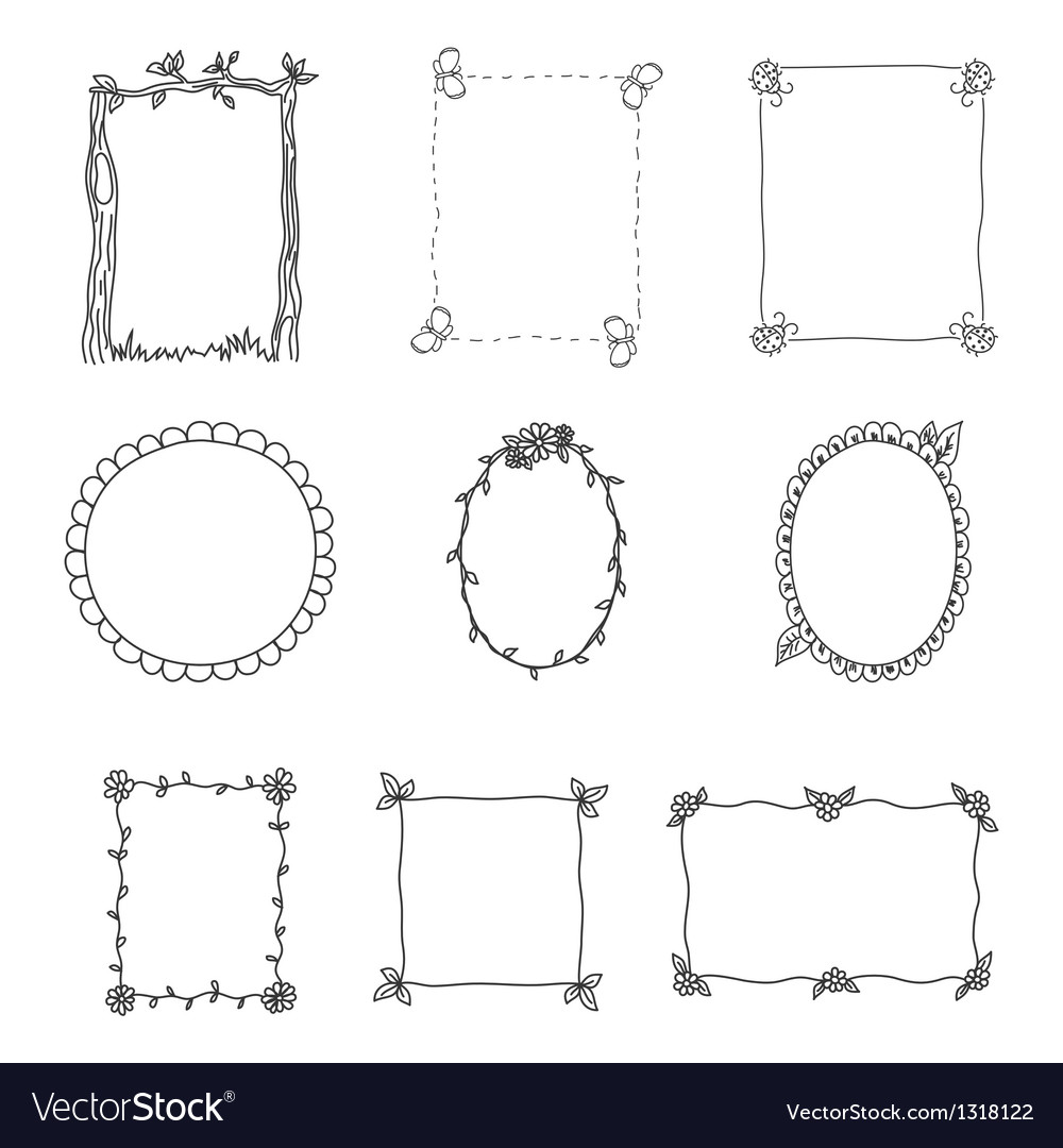 Hand drawn frames set 2 vector