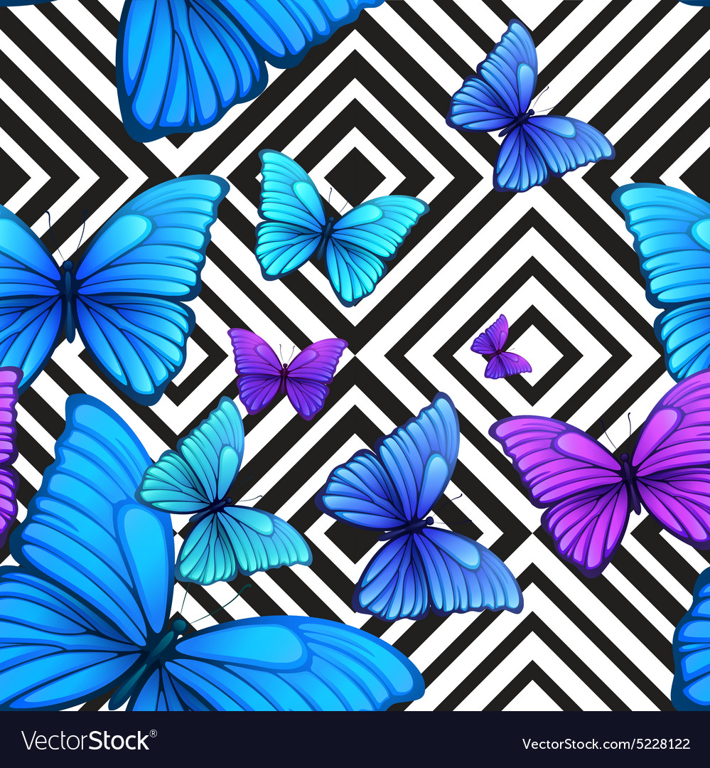 Seamless pattern with blue butterfly black vector