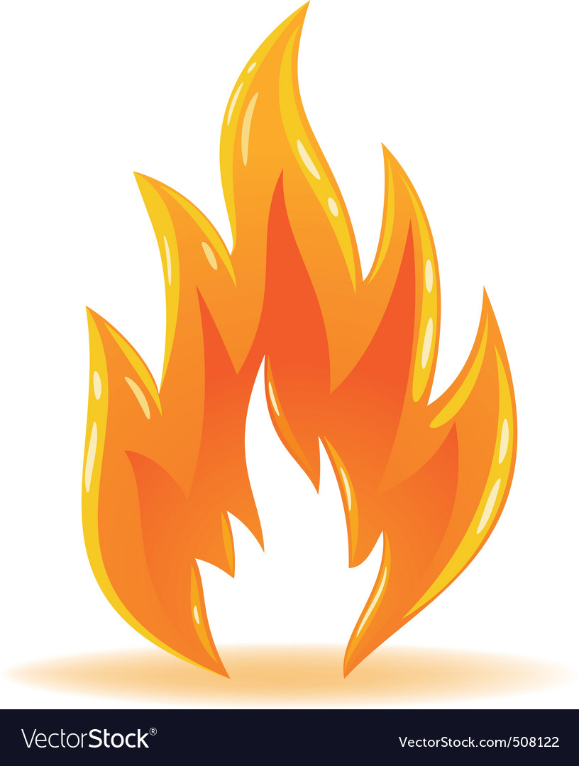 Symbol fire shiny flame vector