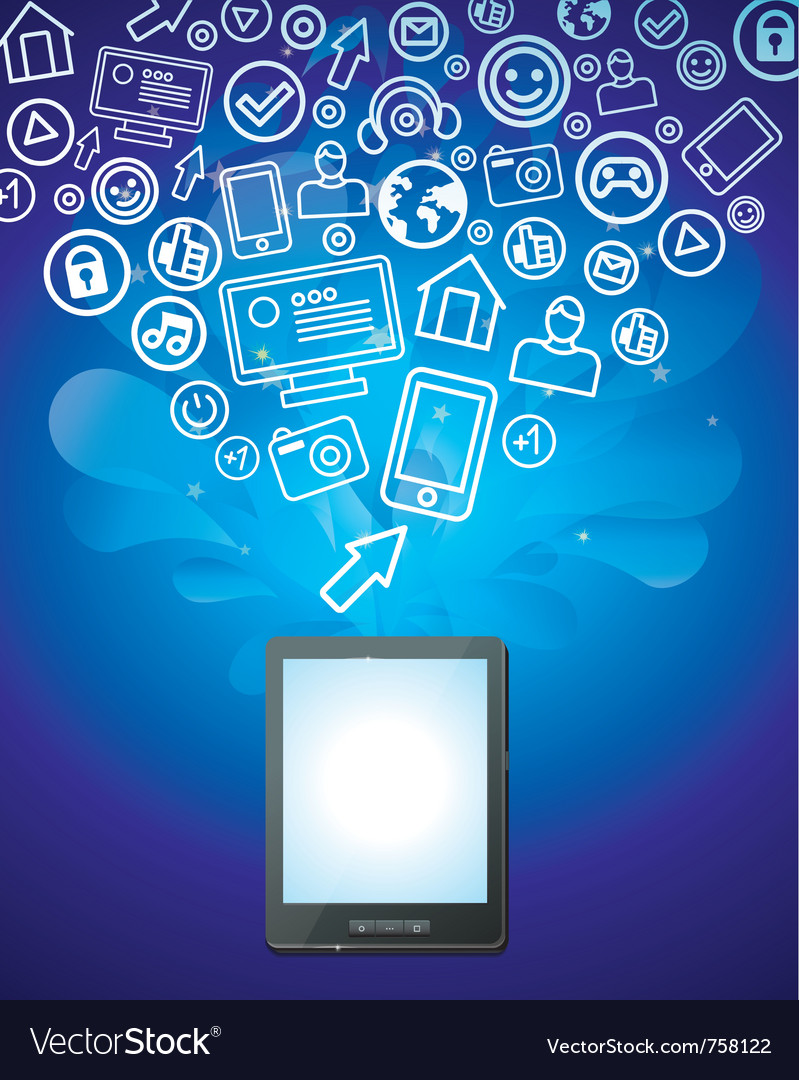 Tablet pc with bright social media icons  vector