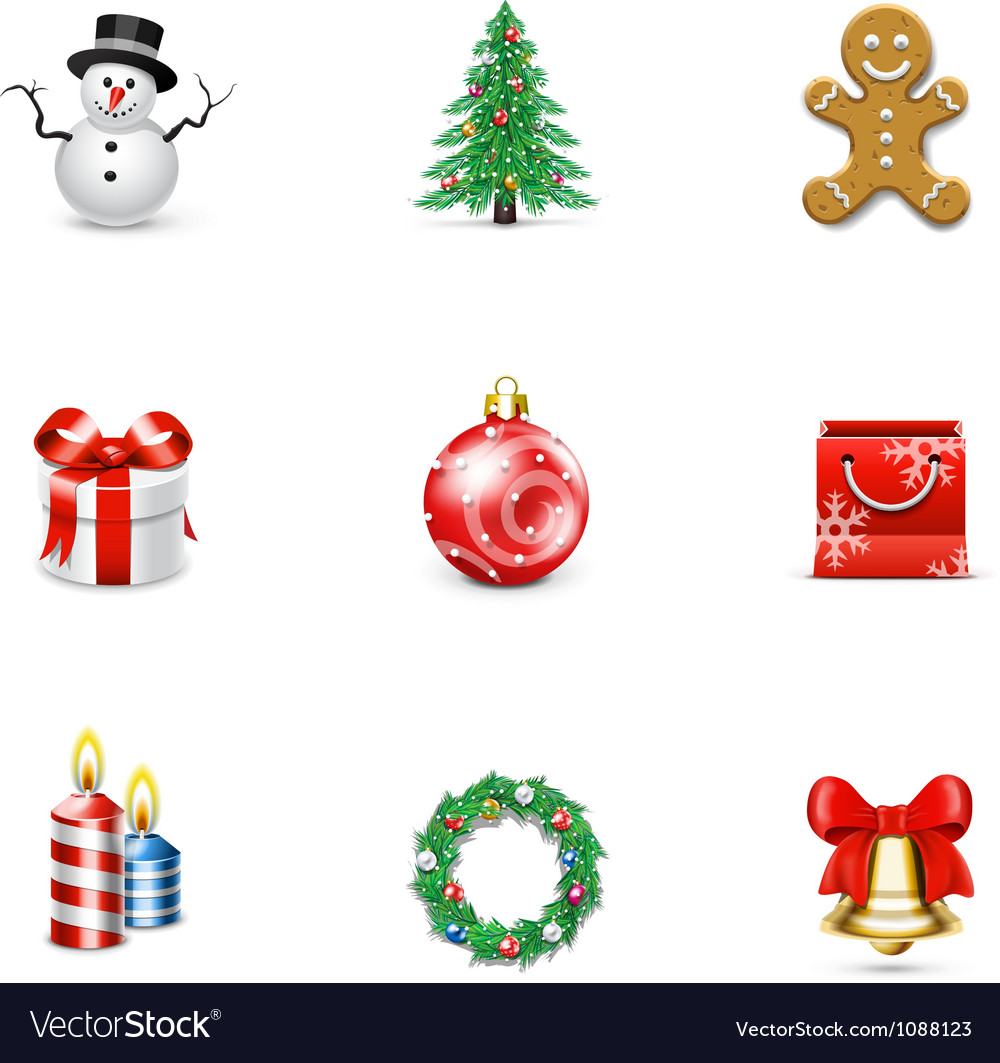 Christmas icons and buttons vector